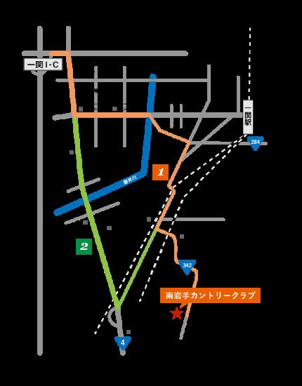 地図:盛岡方面から当クラブへのルート